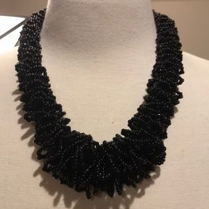 Beauty in black beaded necklace